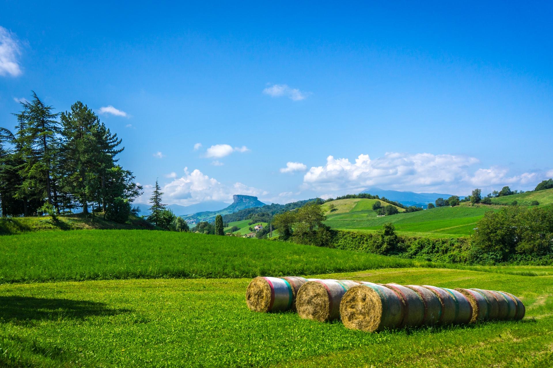 Traktoregg pakket inn i italienske farger. Noe for norske bønder? Legg merke til kjent fjell i bakgrunnen.